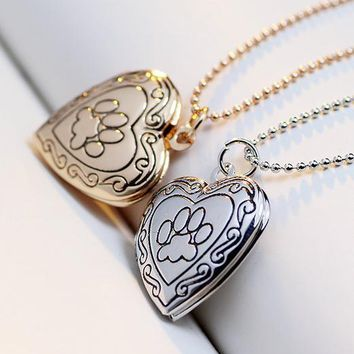 Valentine Lover Gift Animal Dog Paw Print Photo  Can Open Locket Necklaces Gold-color Heart Pendants