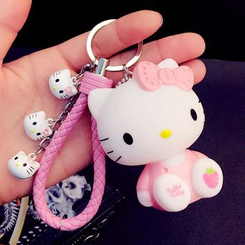 Cartoon Cute Anime Hello Kitty Keychains KT Cat Bells Key Rings Women Girl Car Purse Pendant Key Chains Porte Clef Gift Trinkets