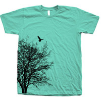 Tree T shirt Mens Unisex Hand Screen Print American Apparel Crew Neck Available: S, M, L, XL, XXL 26 Color Option
