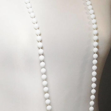 Long Necklace, 47 Inches, White Necklace, Hand Knotted, Plastic Beads, Lightweight, Vintage Hippie, Costume Jewelry