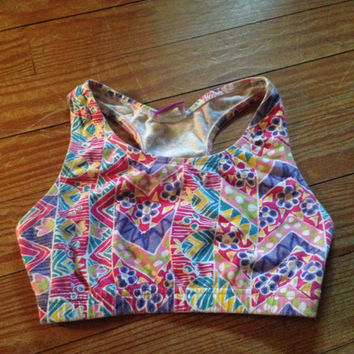 80's 90's colorful floral sports bra SMALL