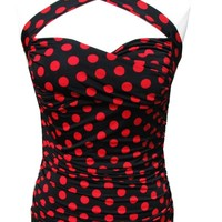 CRISSCROSS Halter top PINUP Ruched Vintage Retro 50's convertible straps - Black & Red Polka Dot