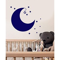 Vinyl Wall Decal Cartoon Moon Stars Baby Room Decor Stickers (2299ig)