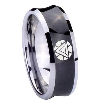 10MM Concave Iron Man Art Reactor Tungsten Carbide Black IP Two Tone Men's Ring