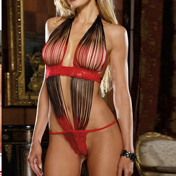 Women Sexy Lingerie Night Sleepwear One Piece Tassels Halter Outfits Babydoll = 1705606532