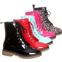 New!! Patent Lace up Ankle Rain Boots (7, camouflage)