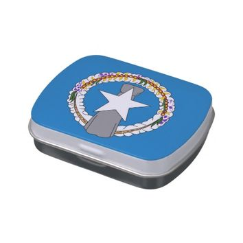 Patriotic candy tins with Flag of Northern Mariana