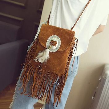 Female Small Suede Bag Beaded Feathers Hippie American Indian Tribal Bohemian Boho Chic Ibiza Style Pouch Women Messager Bag 156