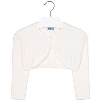 Mayoral Girls' Cream Basic Knitted Cardigan