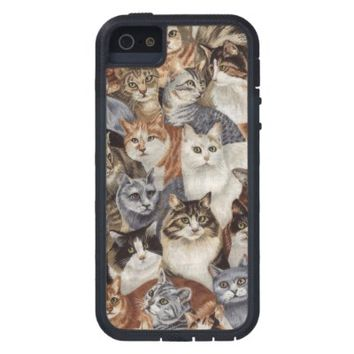 Vintage Whimsical Cat Fabric Apple iPhone 5 Cover