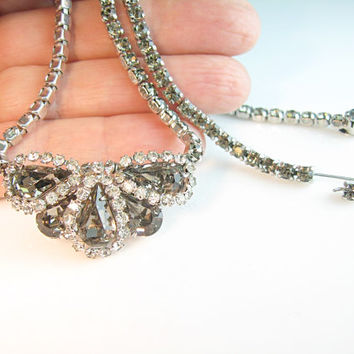 Weiss Necklace Black Diamond Vintage 1960s Signed Rhinestone Choker Smoky Gray Clear Austrian Crystal