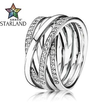 Starland Fine Detail Authentic 925 Sterling Silver Ring Openwork Eternity Entwined CZ Rings For Women Wedding Jewelry Party Gift
