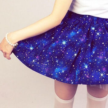 New funny 3D Emoji Mini Summer Starry Galaxy Skirt