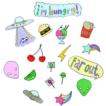 HUNGRY ALIEN STICKER SET