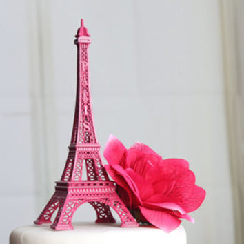 "6"" Hot Pink Paris Eiffel Tower Cake Topper"