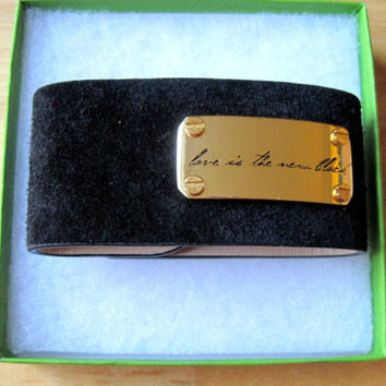 Vince Camuto~Gold Tone~Love Is The New Black Plate~Suede Snap Cuff Bracelet~$58
