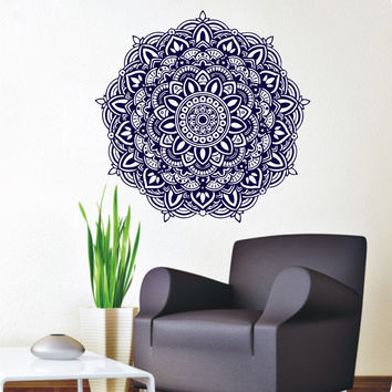 Wall Stickers Mandala Meditation Yoga Wall Decals Buddha Om Symbol Removable Home Living Room Art