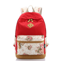 Korean Style Canvas Flower Floral Casual Daypacks College Student Satchels