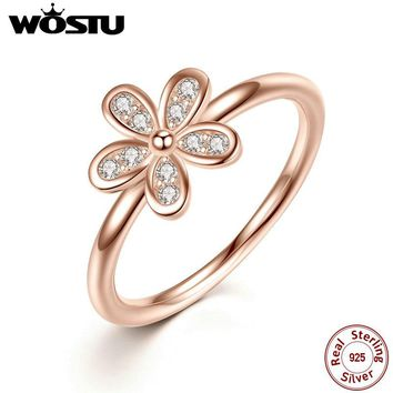 WOSTU Brand 100% 925 Sterling Silver & Rose Gold Color Dazzling Daisy Wedding Rings For Women Fashion Jewelry Gift XCH7188