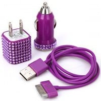 Iwaii - 3 in 1 Rhinestones Design USB Car Charger, Power Charger and 1M 30 Pin USB Cable for iPhone 4/4S (Purple)