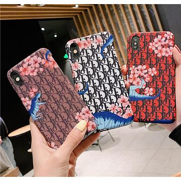 DIOR Tide brand flower dinosaur leather iphonexs max mobile phone case cover