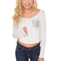 Kalila Sequin Pocket Top - White
