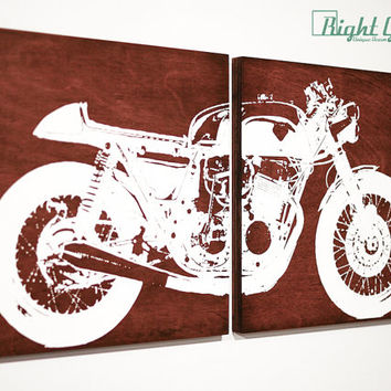 Cafe Racer Motorcycle Art Screen Print - Custom Wall Art by Right Grain