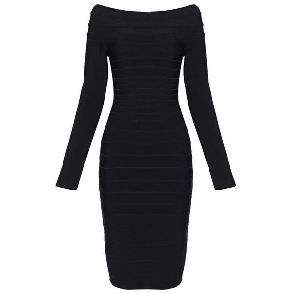 Bqueen Boat-Neck Bandage Dress Black H035H TQA