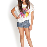 FOREVER 21 GIRLS Lace-Trimmed Daisy Tee (Kids) Cream/Pink 5/6