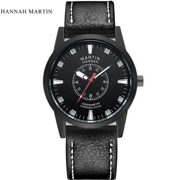 Hannah Martin Luxury Men Date Leather Stainless Steel Sport Quartz Wrist Watch