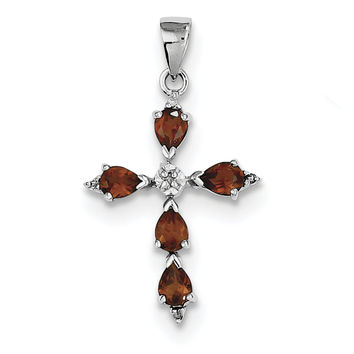 Sterling Silver Rhodium Pear Garnet Cross Pendant QDX610