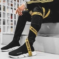 OFF-WHITE Hot Sale Simple Black Word Canvas Belt Yellow