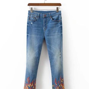 Wind flame print stretch denim jeans