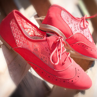 QUPID SALYA-630 CORAL NUBUCK LACE UP PERFORATED OXFORD FLAT