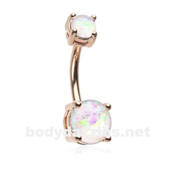 White Golden Opal Sparkle Prong Set 14ga Belly Button Ring Navel Ring Body Jewelry Surgical Steel