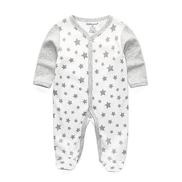 Newborn Baby Wear Boy Romper 100% Cotton Long Sleeve Infant Clothing Cute Girl Rompers Star Unisex Clothes Anti-scratch Gloves