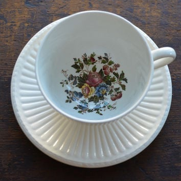 Vintage Wedgwood Hand Painted Cabbage Roses Brown Transferware  Teacup and Saucer