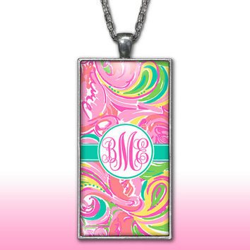 Hot Pink Monogram Pendant Charm Necklace Teal Aqua Personalized Custom Initial Necklace Monogram Jewelry