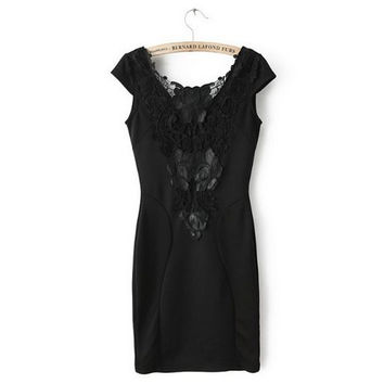 New Fashion Ladies' elegant sexy Lace spliced sheath Dress backless short sleeve dress slim look dress brand design QZ995