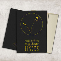 Pisces Constellation Birthday Card Printable, Digital File, Instant Download - Zodiac Birthday Card