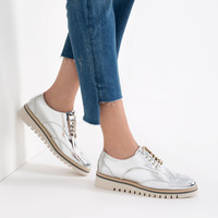 FLAT SHOES WITH BROGUE DETAIL - Flats-SHOES-WOMAN | ZARA United Kingdom