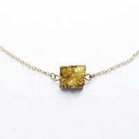 Yellow Druzy Necklace, 18kt Gold, Yellow Small Druzy, Square Druzy, Drusy, For Her, Druzy, Spring, Necklace, Jewelry, Dainty, Petite, Tiny