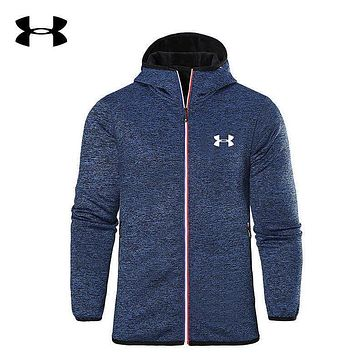 Under Armour Trending Men Casual Print Hoodie Zipper Cardigan Jacket Coat Windbreaker Blue