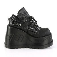 Stomp 09 Platform Sneaker Oxford Wedge Shoes 6-11 Black Matte