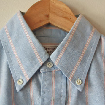 Blue and Pink Stripe Oxford Short Sleeve Button Up Shirt