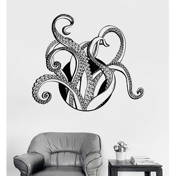 Vinyl Wall Decal Tentacles Octopus Kraken Nautical Marine Decor Sea Stickers Unique Gift (ig3228)
