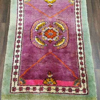 Vintage Turkish Oushak Rug 49x 35 inches Free Shipping