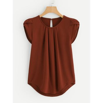 Petal Sleeve Pleated Detail Curved Hem Blouse Rust
