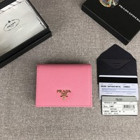 Kuyou Prada Gb19710 1mv204 Pink Small Saffiano Leather Wallet 11.2cm*8.5cm