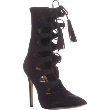 Steve Madden Piper Pointed Toe Lace Up Boots, Black, 10 US